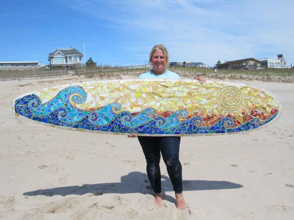 Custom Mosaic Surfboard Wall Art: Waves And Sun