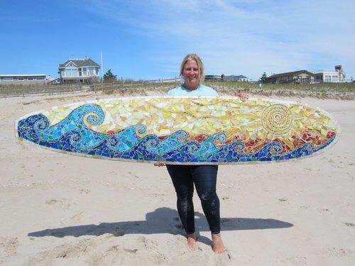 Custom Mosaic Surfboard Wall Art: Waves and Sun — SwellColors Glass ...
