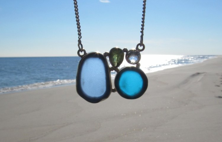 glass uncommongoods shades sea product jewelry necklace of blue