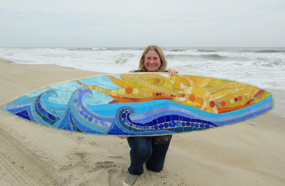 SwellColors Glass Mosaic Surfboard Art.Music on Water 1.jpg