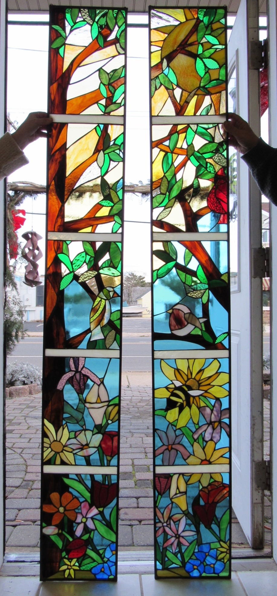 Flowers Birds and Bees Custom Stained Glass Sidelight Windows.Onders 1.jpg