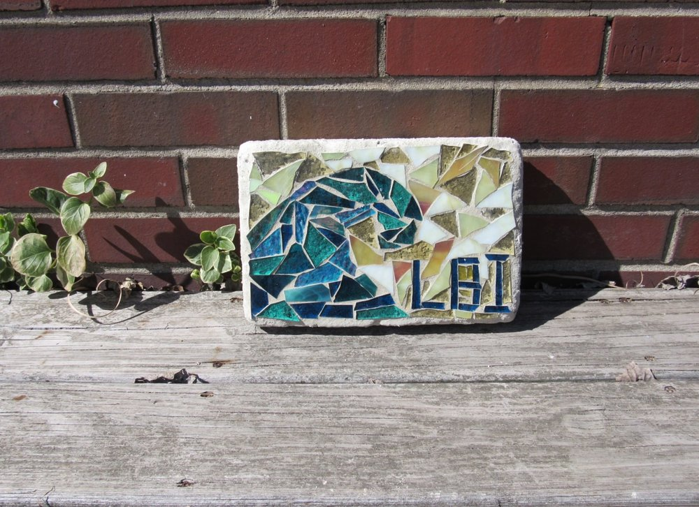 Mosaic Garden Bricks - Weather ready for your outside space!Perfect for your garden! VERY COOL!! Work with our team of artisans to create your own mosaic design. Call ahead to check on availability. Prices will vary depending upon size. Suitable for all ages.Doorstop Brick - $256