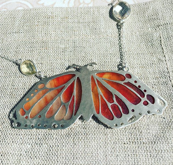 Tumbled Glass Sterling Silver Monarch Necklace .png
