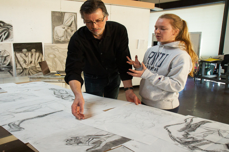 Michael in Drawing class with Student, Katherine Worth, photo credit: Julia Rubin