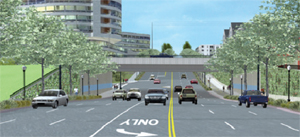 An artist's rendering of the reconfigured Mercer Street corridor and the reconstructed Aurora Street bridge leading into the north portal of the SR99 tunnel now under development.(Photo:  Seattle Dept. of Transportation)