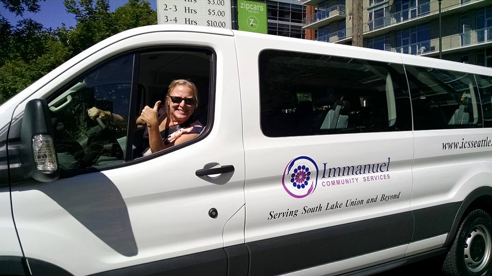 Patty celebrating the new van recently donated by Boeing