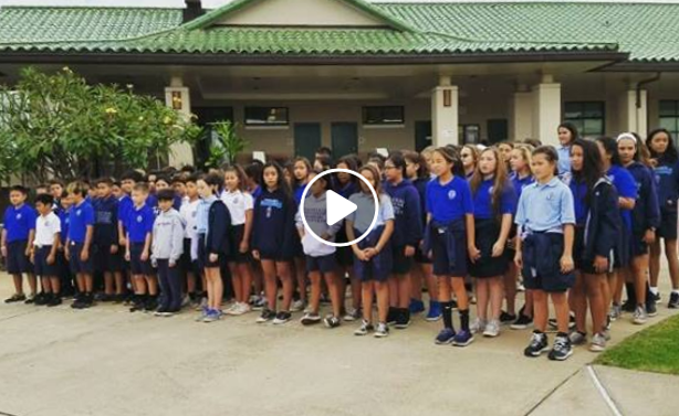 Australian Futsal's 2016 National 12-U Boys, Coaches, Parents, & Grandparents being greeted by Kamehameha Schools - Maui's 6th Grade Class, as they entered the Kula Waena (Middle School) Campus.  [VIDEO BY: Hawaii Futsal | 2016]