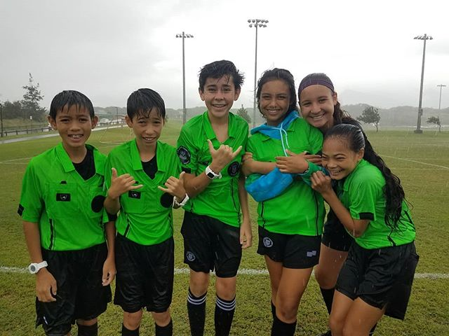 Our hard working refs!!! • All HSF Maui games cancelled today due to weather & unsafe field conditions. #hsffall18 #hawaiisoccer #mauisoccer