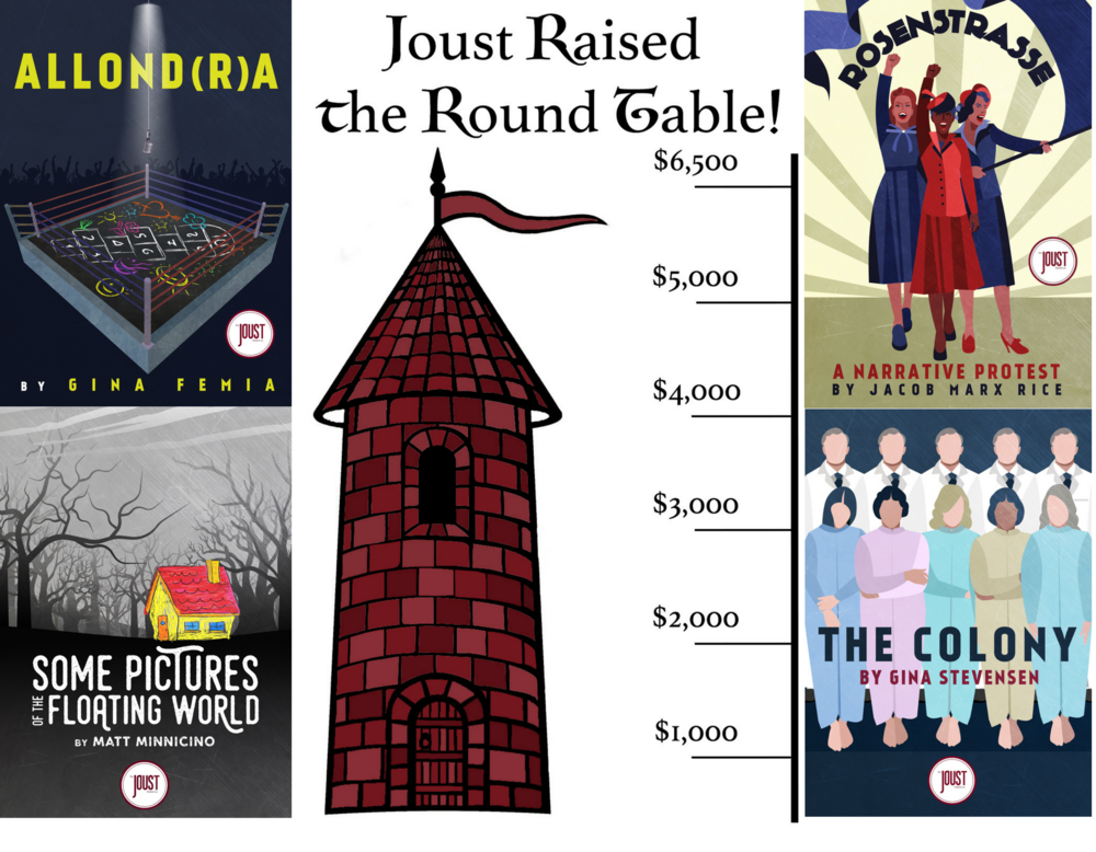 It's official, Joust has reached our fundraising goal of $6,500! Huge thanks are owed to everyone who donated, shared, and raised awareness of our campaign. We could not have done it without your help. Stay tuned for updates on our September gala, November shows, and all things Joust!