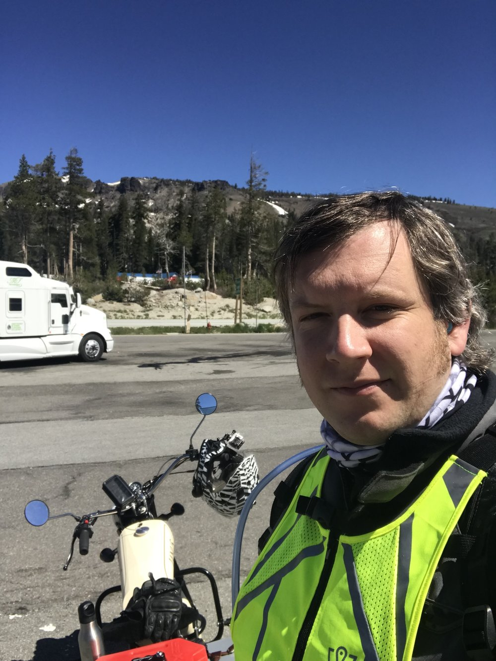 At Donner Pass, the summit of my crossing of the Sierra Nevadas