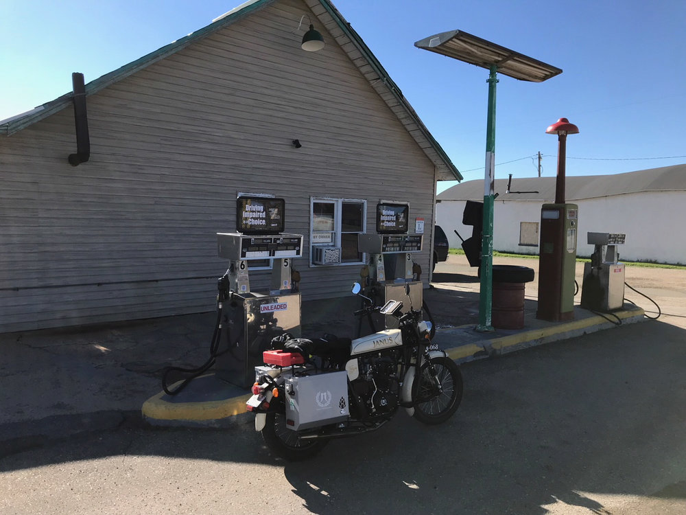 Gassing up at Hostler's General Store in Rock River, Wyoming.