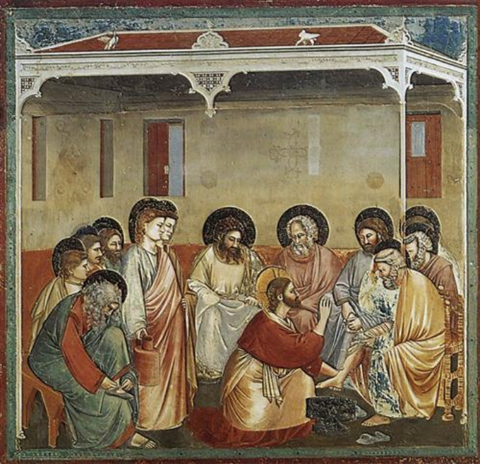Christ washes the Disciple's Feet – Giotto    Halos surround the heads of all Disciples,     women and men.  Notice the color of the halo surrounding the disciples, and the color surrounding the head of Christ.