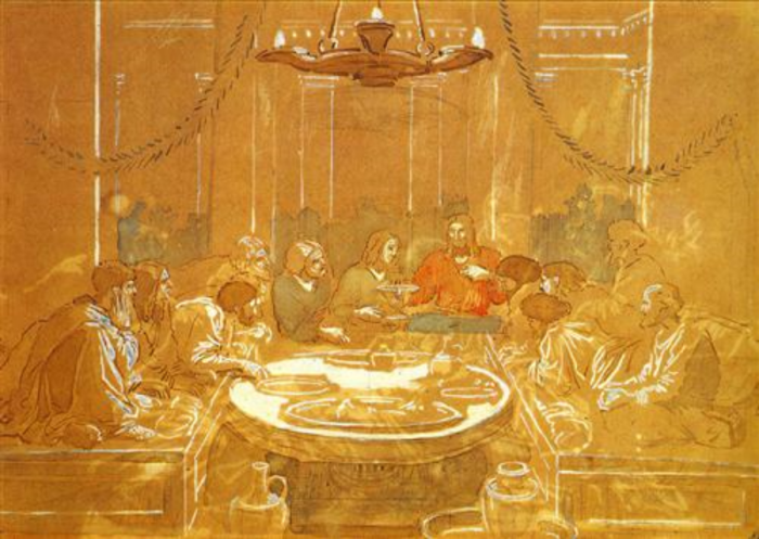 The Last Supper - Alexander Ivanov 1824  CONTEMPLATE this experience.  Let us Be with Them now ... drawn in to the First Communion.  Brought forward to the present day, the Communion Feast has greatly expanded, including millions more.