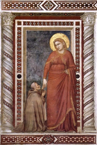"A ""towering Mary"" depicting the spiritual status and strength of Mary Magdalene. GIOTTO di Bondone, Mary Magdalene and Cardinal Pontano oil painting.  1320's Fresco Magdalene Chapel.  Giotto di Bondone, 1267-1337"