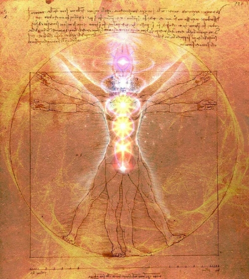 Vitruvian Man with Chakras lit up - a Lighted House