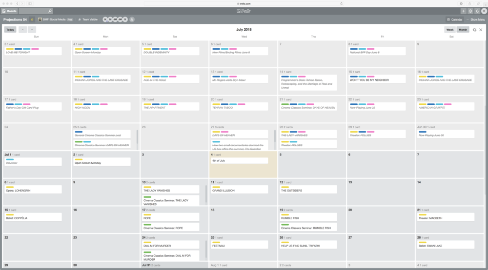 Social media planning and scheduling calendar in Trello