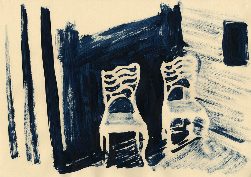 'The Couple', 2012, ink on off-white cartridge paper, 29.5 x 42 cm