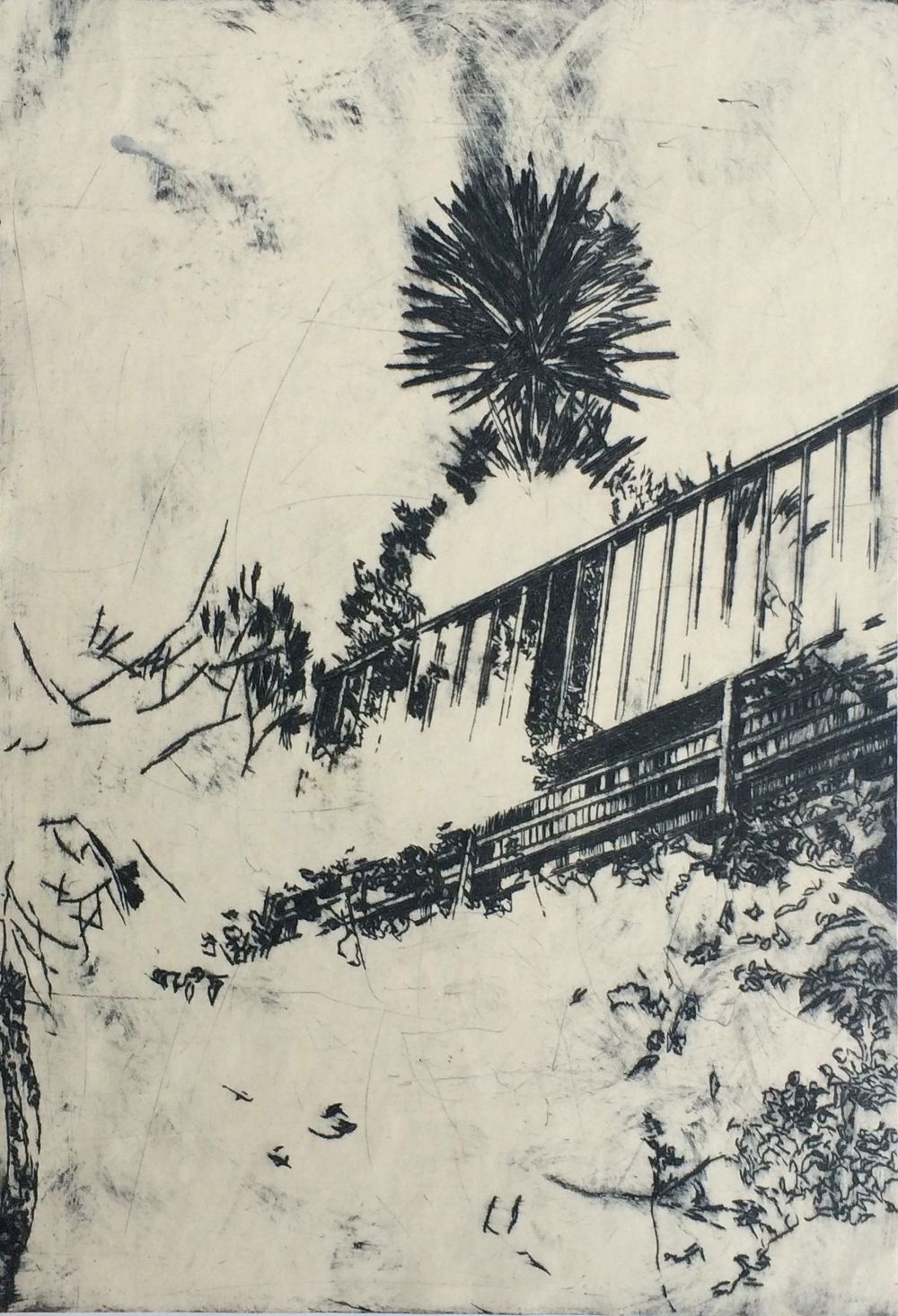'Via Linare', 2012, etching on off-whte paper, 21 x 29.5 cm