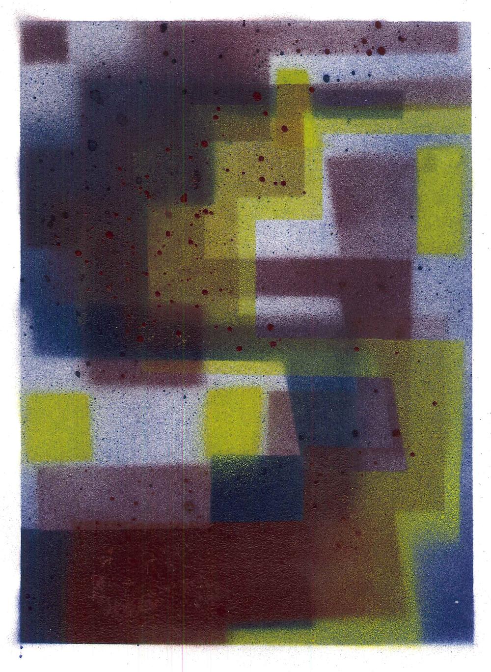 'S4', 2015, spray paint on cartridge paper, 15 x 21 cm