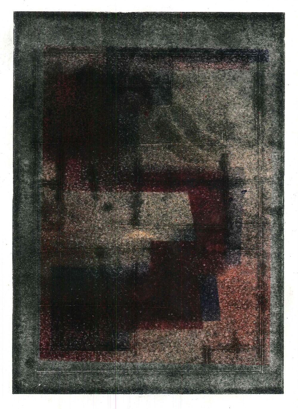 'S3', 2015, spray paint on cartridge paper, 15 x 21 cm