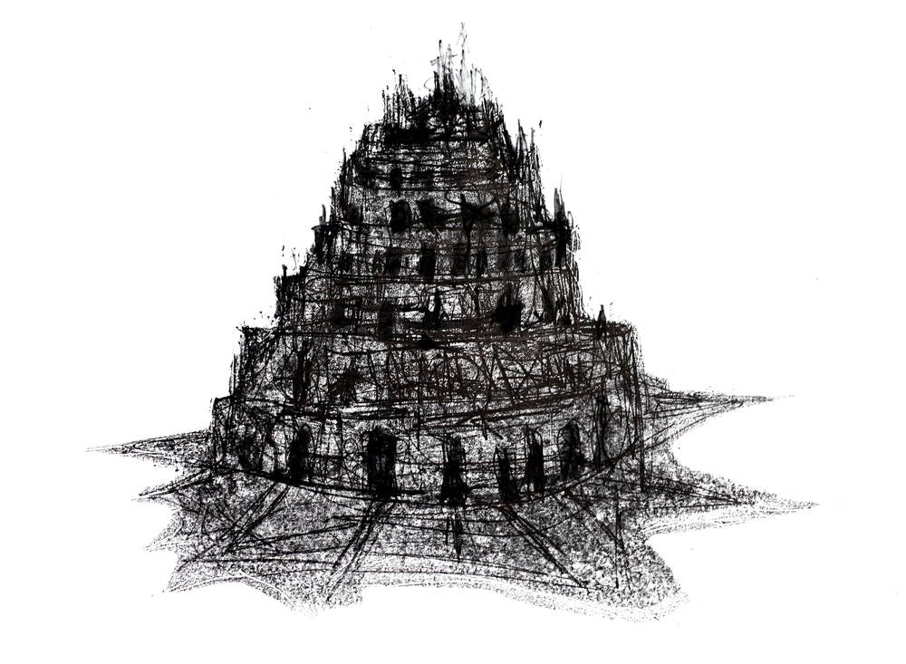 'The Tower (After Breugel)', 2012, monoprint on paper, 59 x 81 cm