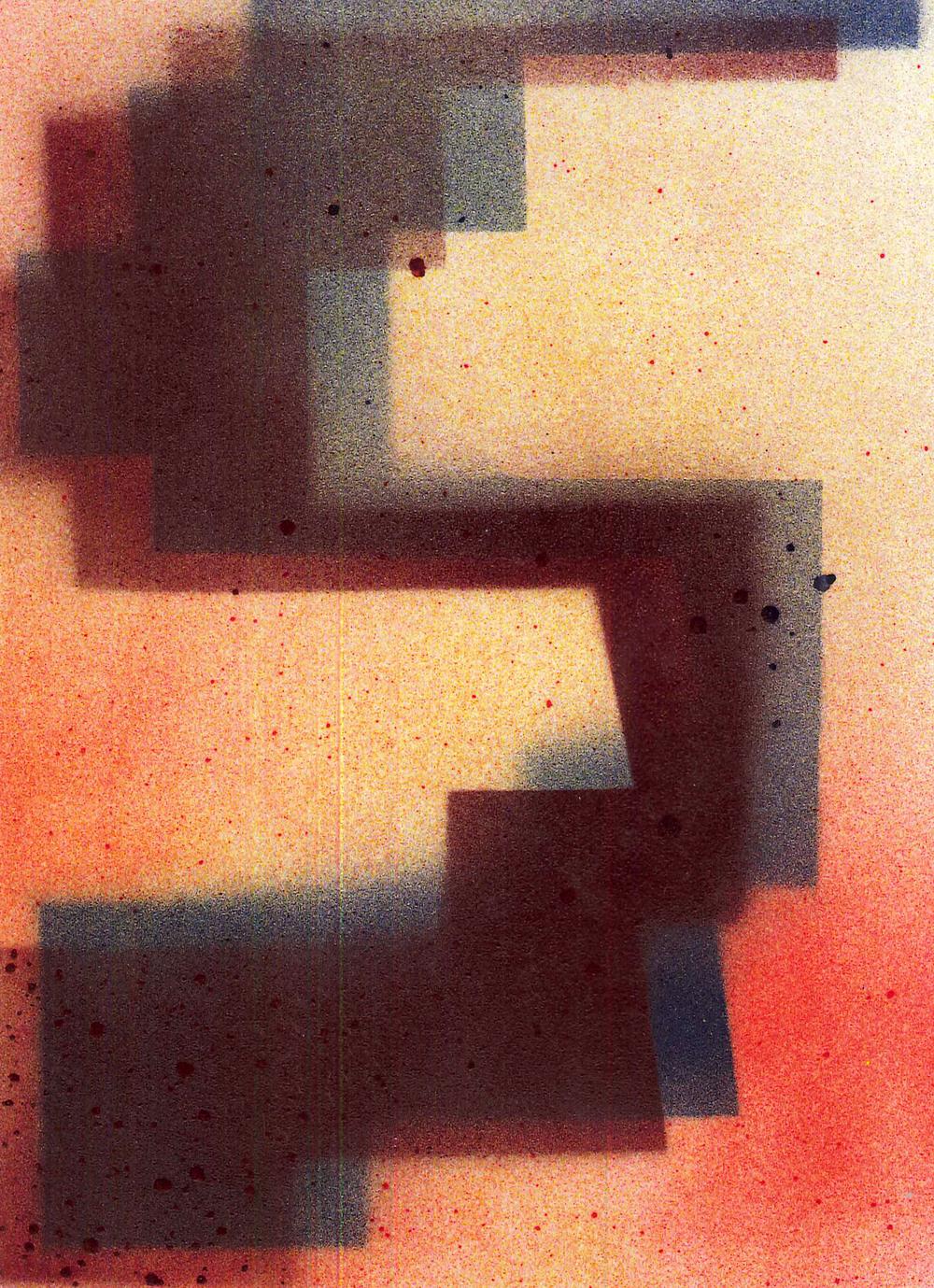 'S5', 2015, spray paint on cartridge paper, 15 x 21 cm