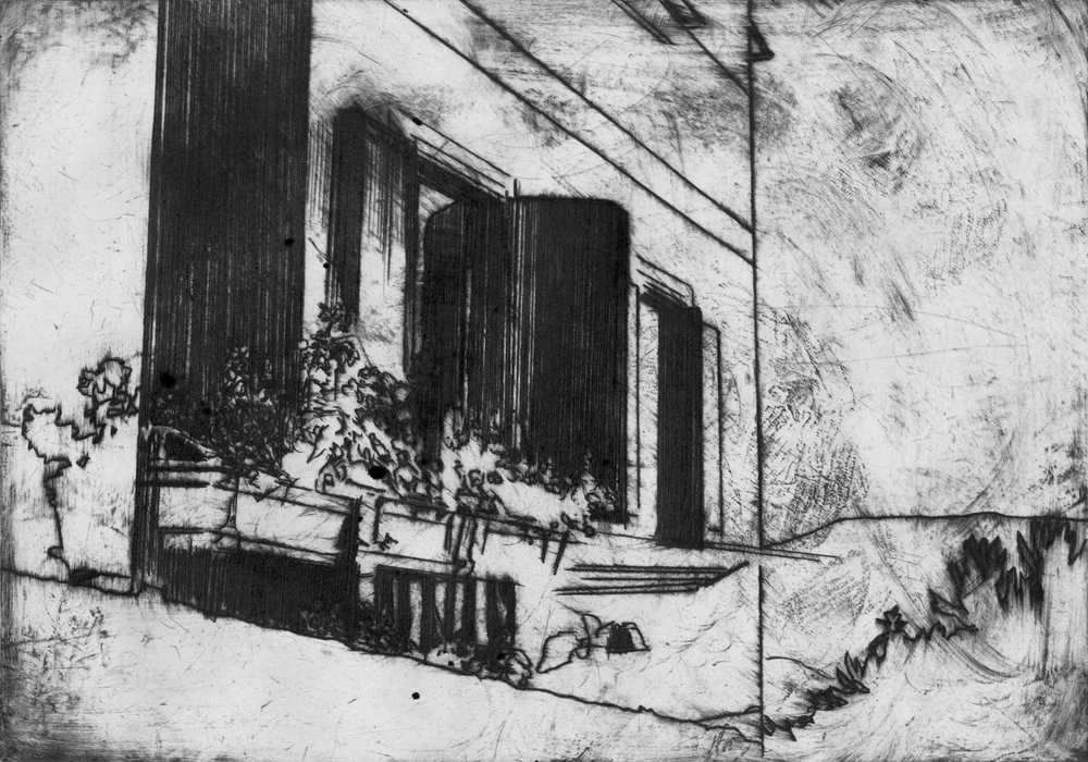 'Via Linare (The Lady with the Cat in the Basket)', 2012, etching on off-whte paper, 21 x 29.5 cm