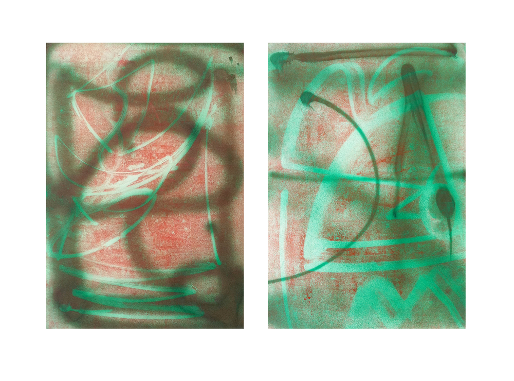 'C and D from Panel X Series', 2009, ink and spray paint on paper, 40 x 50 cm each
