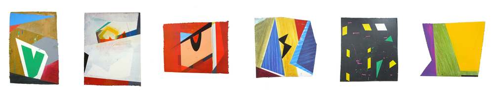 2007 Series, oil paint, acrylic, gloss paint and spray paint on cardboard, dimensions variable: (from left to right) 'Vision', 'Crown', 'The Last Play', 'Pool Party', 'SW19' and 'Nightwatch'