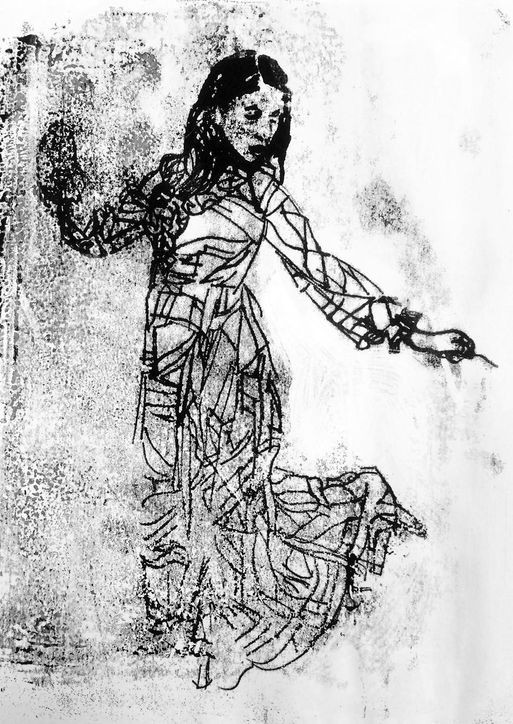 'Lady', 2015, Monoprint on plain paper, 21 x 29.5 cm
