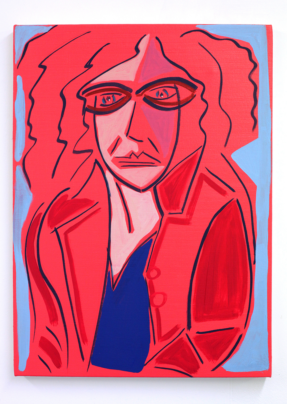 'Fraubraun (with red felt jacket from the Italian market)', 2015/17, oil on canvas, 30 x 40 cm