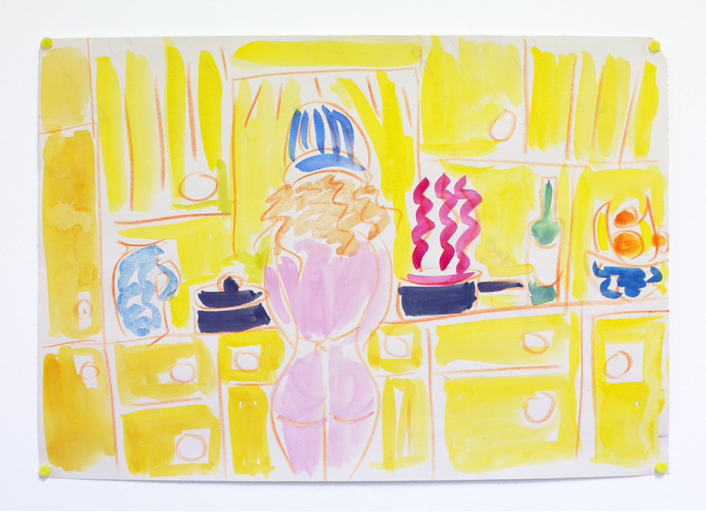 'Cooking the red cabbage', 2015, watercolour on paper, 29.5 x 21 cm