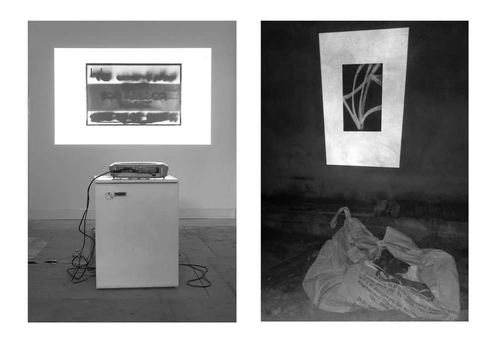 A slide projection of the photographs was accompanied by a sound recording of James Peake reading the poems in 'A Quest for Paradise', held in a disused shop in Wandsworth, 2009
