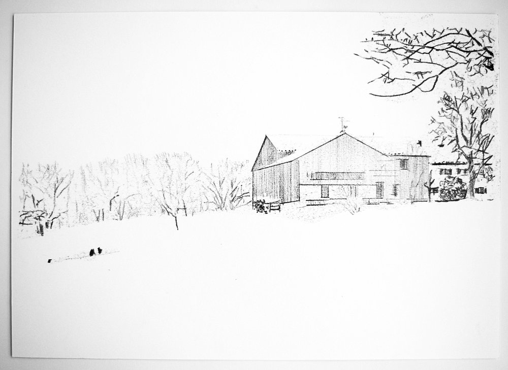 'Muhlberg im Schnee', 2015, monoprint on cartridge paper 183gsm, 21 x 29cm