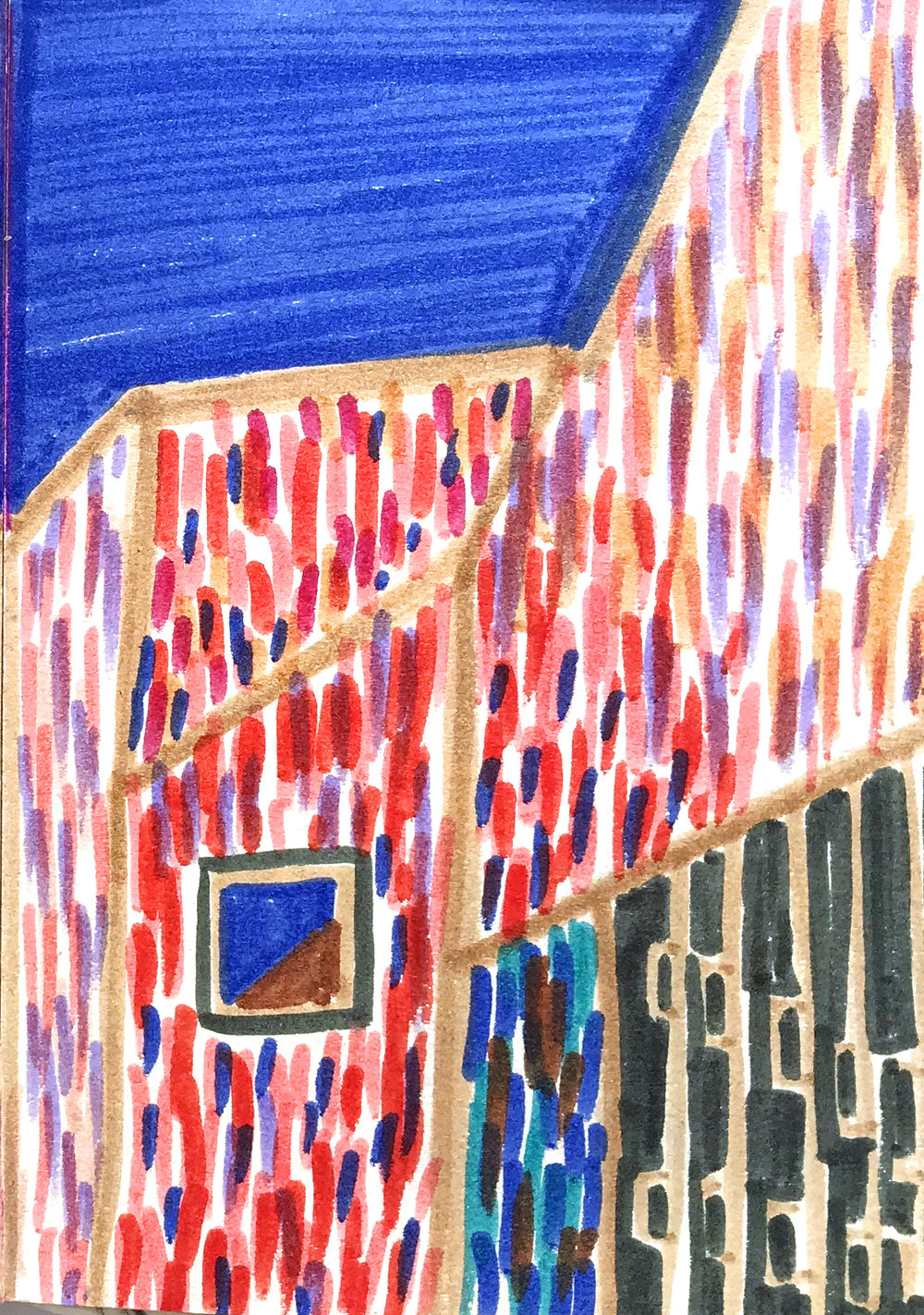 Brandhorst (Munich, cold winter's day post Alex Katz), 2018, felt tip on paper, 10 x 15 cm