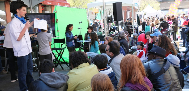 Teaching an animation secret recipes at the Tribeca Film Festival Street Fair in New York City.