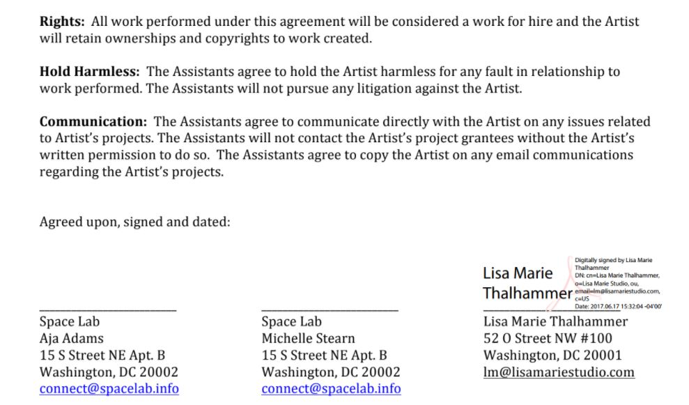 An excerpt from the Memorandum of Understanding sent by Lisa Marie to Aja and Michelle, left unsigned. The document asked the artist Aja to sign away all copyrights and give up the rights to communicate directly with the grantor.