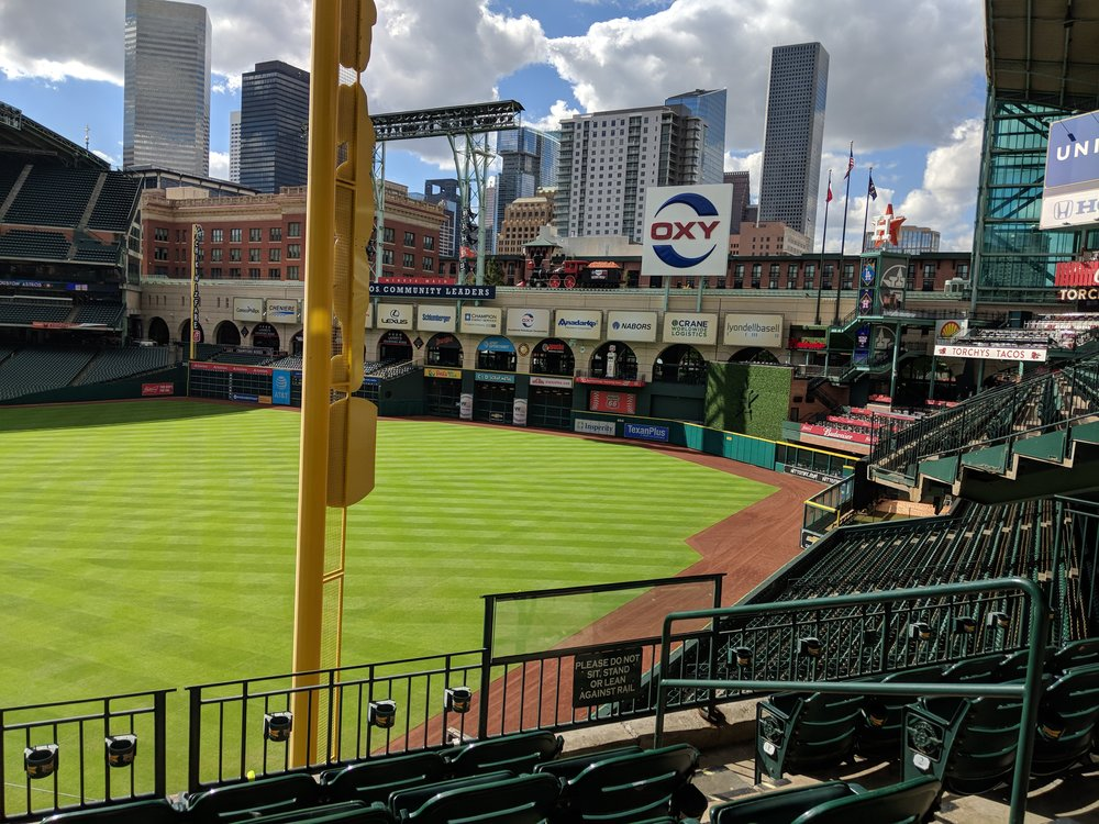 View of downtown from our seats.