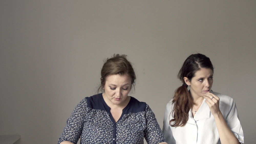 Anne-Marie (L) during the filming of Dear Anne-Marie, with Eleonora Gusmano (R)