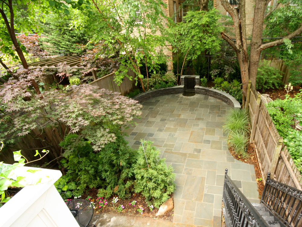 New York City landscaped back garden with patio and plantings