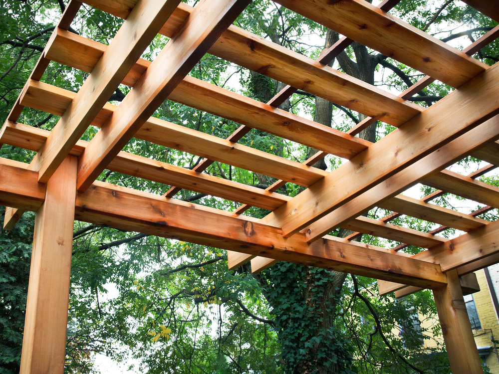 pergola and trellis built in New York City backyard