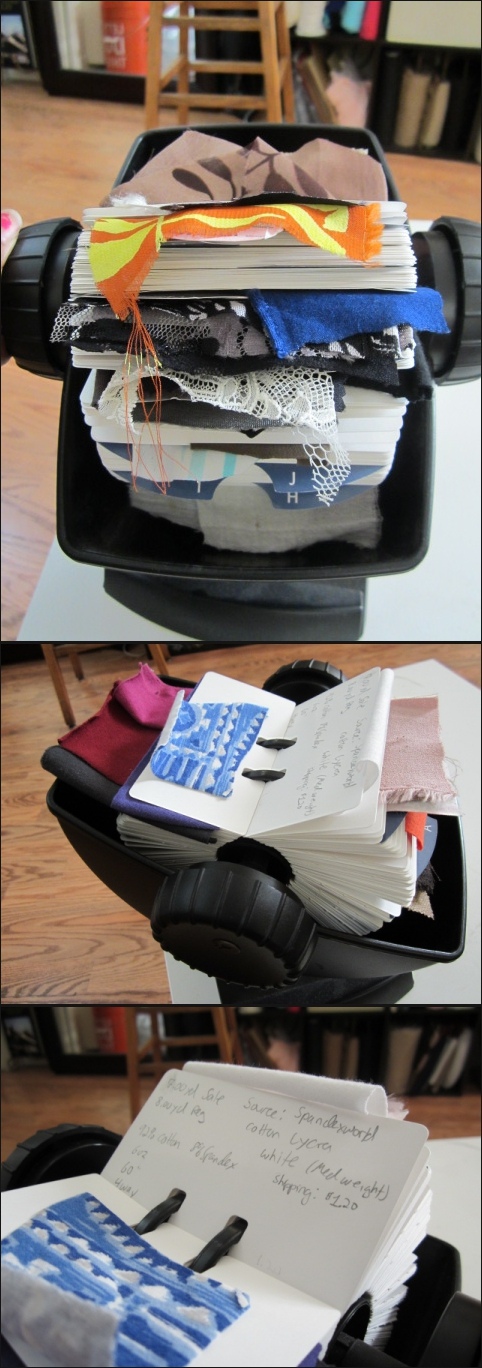 Organizing my fabric stash...old school style...rolodex & tape baby! - SajaEgo.com