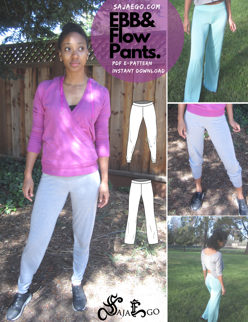 New! Jogger and Yoga Pant PDF Pattern - Simple yoga pant and jogger pant pattern. Easy for beginners. Instant Download. PDF sewing pattern.