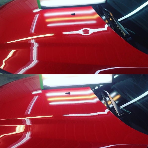 BEFORE AND AFTER DING AND DENT ON HOOD OF CLIENT CAR.jpg