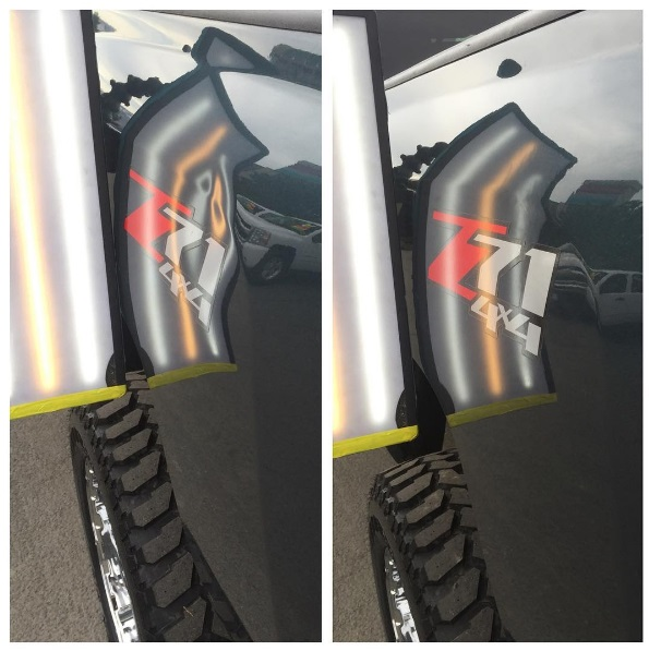 Dent on Chevy Bedside.