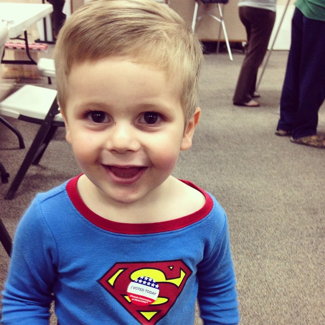 My nephew, Austin, is following in the Superman steps of his father.