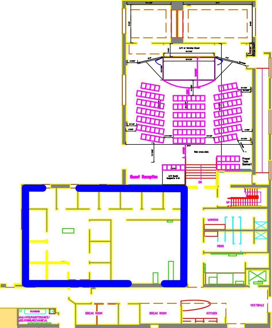 Expansion space outlined in blue.  This will almost double our current space for growth!