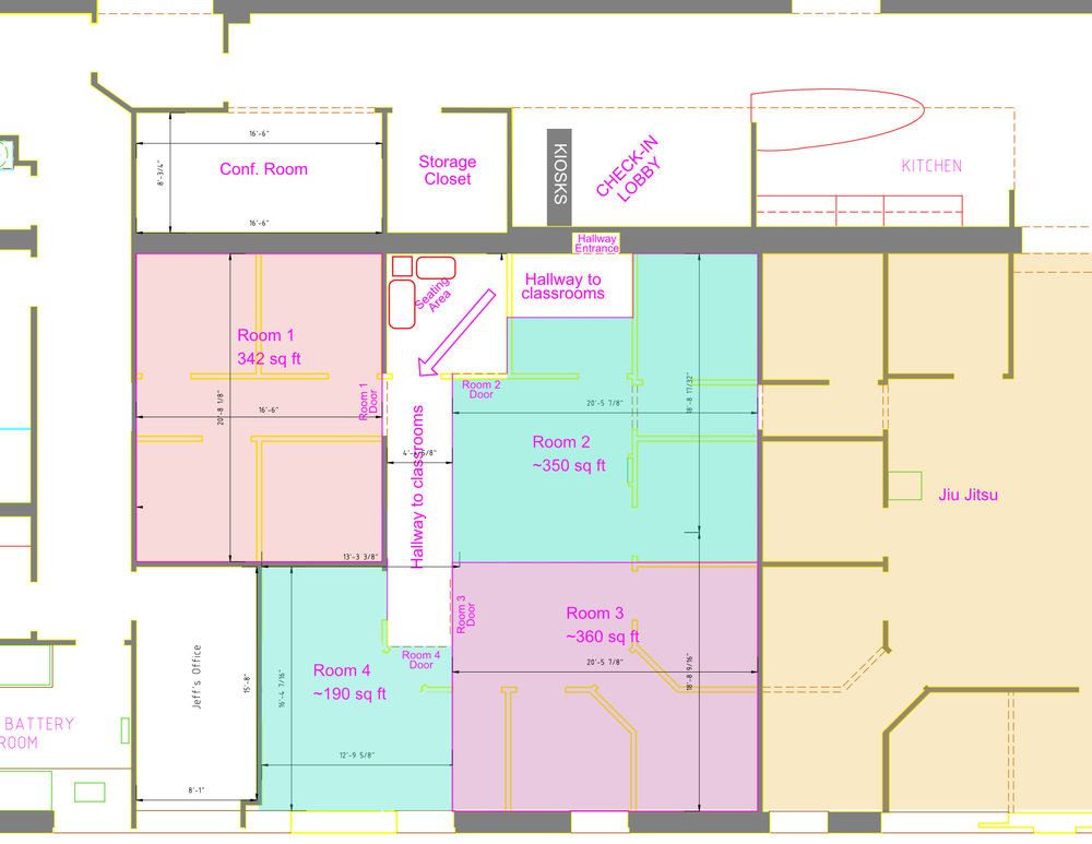 Proposed expansion of Harvest Kids in the current empty office space adjacent to Jeff's office and the Jiu Jitsu studio. Allows for more kids classrooms than we currently have in addition to a nursing/cry room for mothers.