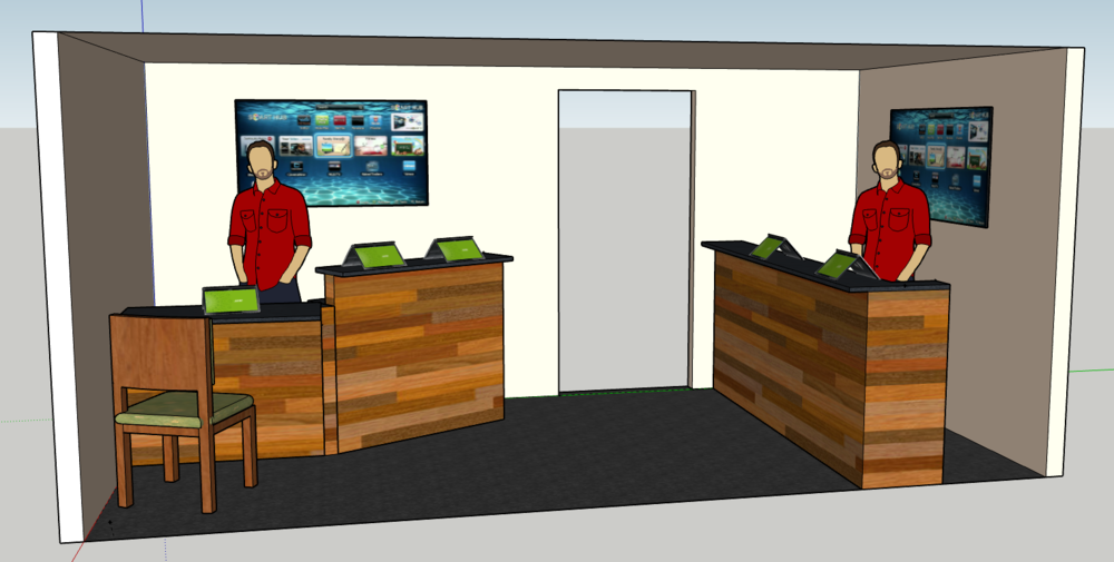 Harvest Kids proposed check-in area (current break room area) Seating for new family registration
