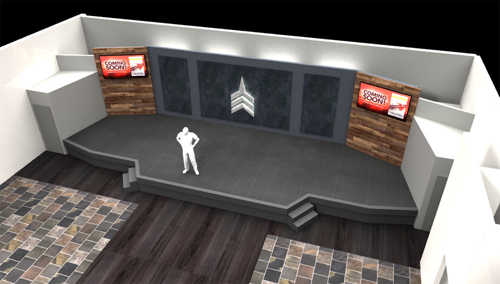 Worship Center Expansion Proposal with a widened stage area and additional seats in the front.  (Renderings updated 3/23/19) Designer - Darren Miller)